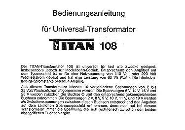 Titan Bedienungsanleitung für Transformator