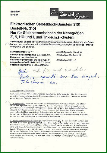 Hartel Anschlußanleitung für Selbstblock-Baustein 3101
