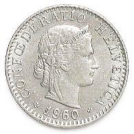 Schweizer Münze 20 Rappen Prägung Aus Dem Jahr 1960 Schweizer