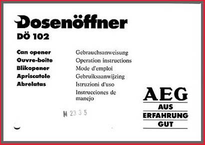 AEG Gebrauchsanweisung