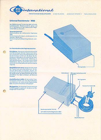Roco Anschlußanleitung für Universal-Transformator