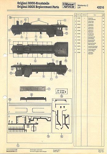 Roco H0 Ersatzteile-Liste für Dampflok 43216