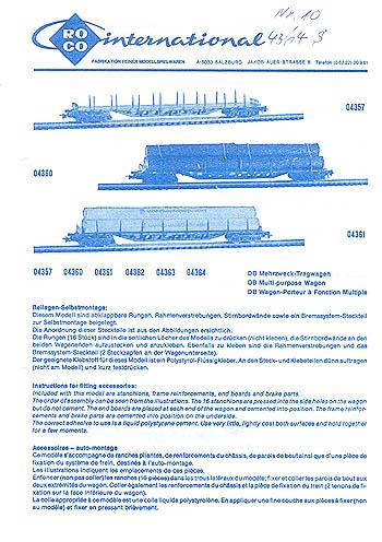 Roco H0 Montageanleitung für Mehrzweck-Tragewagen